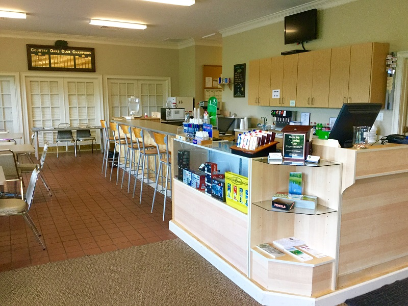 Interior shot of the snack bar at Country Oaks Golf Course